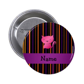 Personalized name cat halloween stripes 2 inch round button