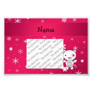 Personalized name cat pink snowflakes art photo