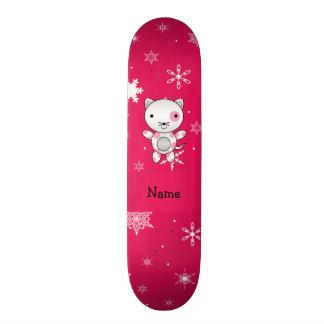 Personalized name cat pink snowflakes custom skate board
