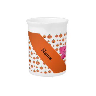Personalized name cat pumpkins pattern pitchers
