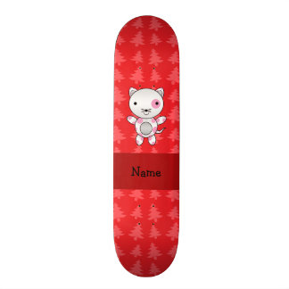Personalized name cat red christmas trees skate board deck