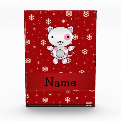 Personalized name cat red snowflakes awards