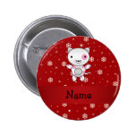 Personalized name cat red snowflakes button