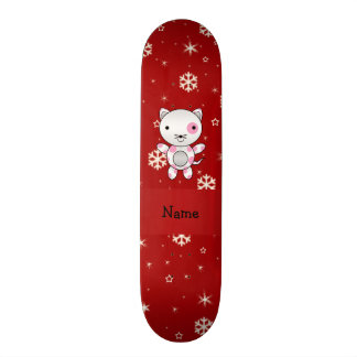 Personalized name cat red snowflakes skate board