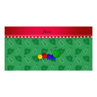 Personalized name caterpillar green bells snowmen photo card