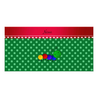 Personalized name caterpillar green polka dots photo card