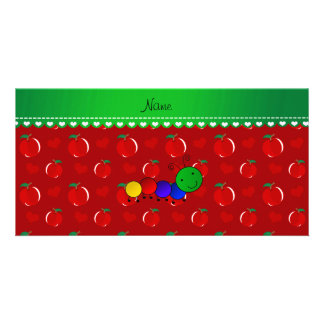 Personalized name caterpillar red apples photo card