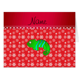 Personalized name chameleon red snowflakes greeting card