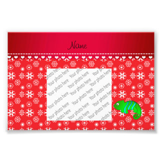 Personalized name chameleon red snowflakes photo print