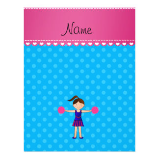 Personalized name cheerleader blue polka dots full color flyer