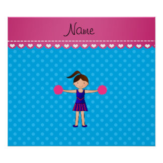Personalized name cheerleader blue polka dots poster