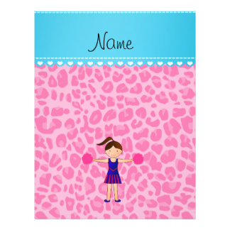 Personalized name cheerleader pink leopard full color flyer
