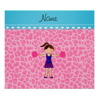 Personalized name cheerleader pink leopard poster