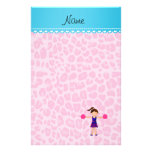 Personalized name cheerleader pink leopard stationery
