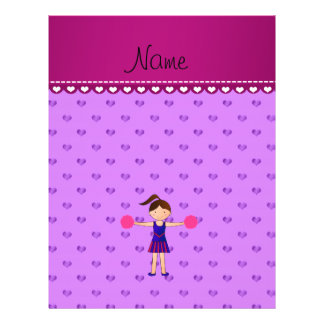Personalized name cheerleader purple hearts flyer design