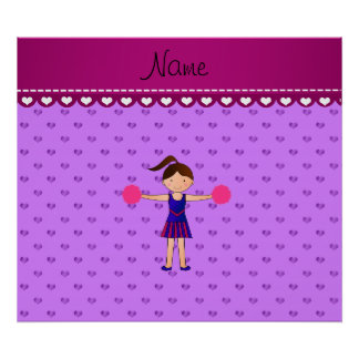 Personalized name cheerleader purple hearts poster