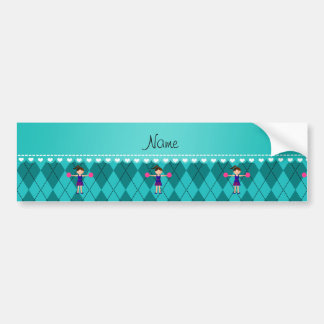 Personalized name cheerleader turquoise argyle bumper sticker