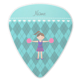 Personalized name cheerleader turquoise argyle white delrin guitar pick