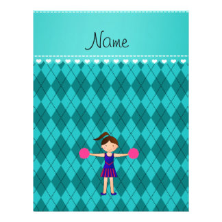 Personalized name cheerleader turquoise argyle full color flyer
