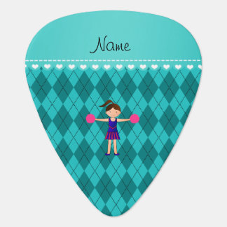 Personalized name cheerleader turquoise argyle guitar pick
