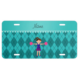 Personalized name cheerleader turquoise argyle license plate