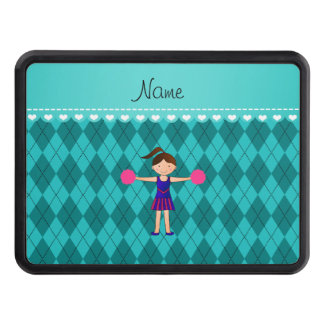 Personalized name cheerleader turquoise argyle trailer hitch cover