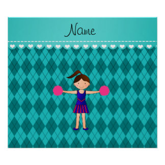 Personalized name cheerleader turquoise argyle print