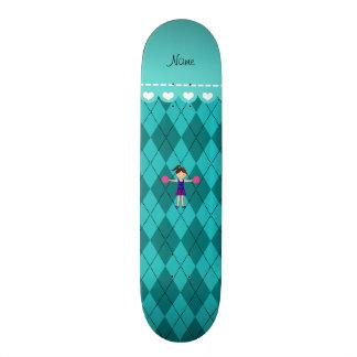 Personalized name cheerleader turquoise argyle custom skateboard