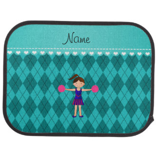 Personalized name cheerleader turquoise argyle floor mat