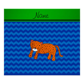 Personalized name cheetah blue chevrons poster