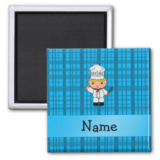 Personalized name chef blue plaid magnets