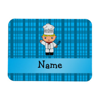 Personalized name chef blue plaid rectangle magnet
