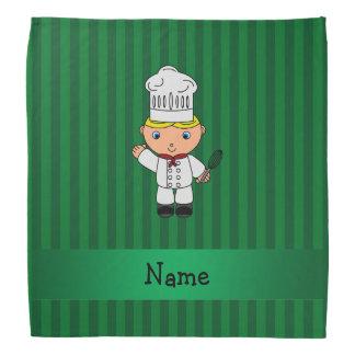 Personalized name chef green stripes bandana