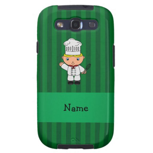 Personalized name chef green stripes galaxy s3 covers