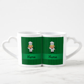 Personalized name chef green stripes couples' coffee mug set