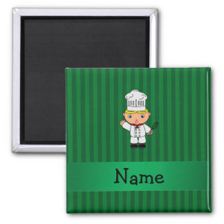 Personalized name chef green stripes fridge magnet