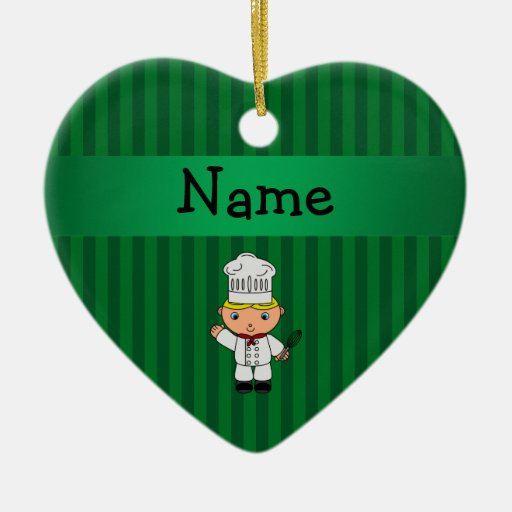 Personalized name chef green stripes christmas ornament