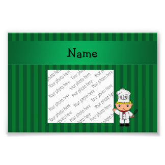 Personalized name chef green stripes photograph