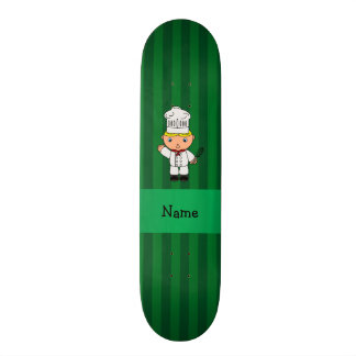 Personalized name chef green stripes skateboard deck