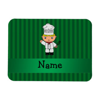 Personalized name chef green stripes vinyl magnets