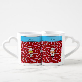 Personalized name chef red bacon couples' coffee mug set