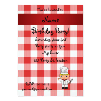 Personalized name chef red white checkers card