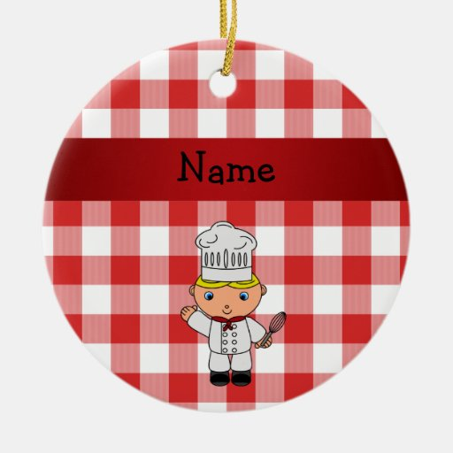 Personalized name chef red white checkers christmas ornament
