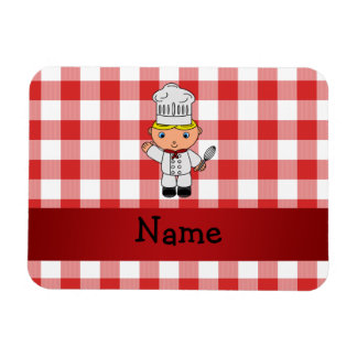 Personalized name chef red white checkers rectangle magnets