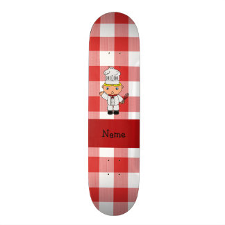 Personalized name chef red white checkers skate deck