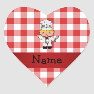 Personalized name chef red white checkers heart sticker