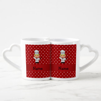 Personalized name chef red white polka dots couples' coffee mug set