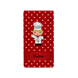 Personalized name chef red white polka dots address label