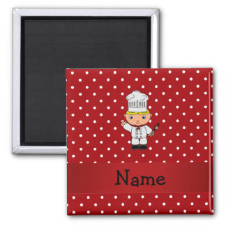 Personalized name chef red white polka dots magnet