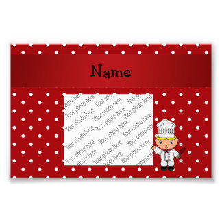 Personalized name chef red white polka dots photo print